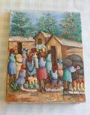 artiste peintre francine laroche village africain signé