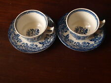 ALFRED MEAKIN TONQUIN BLUE CUP AND SAUCERS X 2.