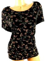 Briggs new york black red floral print textured plus size slinky stretch top 2X