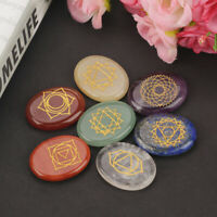 7 Piece/set Exquisite Engraved Chakra Stone Palm Stone  Reiki Healing