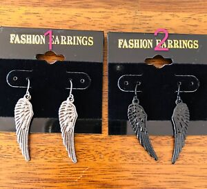 NEW Angel wing earrings. Symbolizing harmony, love, protection(sliver/black)