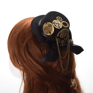 Gothic Victorian Steampunk Bronze Skull Gear Chain Deco Mini Hat Hair Clip
