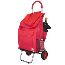 Red Fabric Folding Shopping Cart Removable Grocery Bag Market Trolley Dolly New