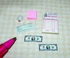 Miniature 6-Item Office Set (Invoice Pad, Checkbook, Tape, etc): DOLLHOUSE 1:12