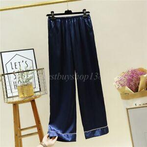 Anti-Static Satin Pettipants Slip Bloomers Sleepwear Pajama Pant  with Pockets