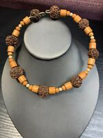 Vintage Exotic Nut Wooden Beaded Choker Statement Spring Wire Boho Necklace