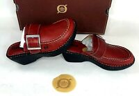 Born Womens Slide Shoes Cloister Clogs Red Heart Throb Red Leather Buckle 7 38