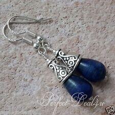 Lapis Lazuli Drop Teardrop Earrings Tibetan Silver & 925 Sterling Silver hooks