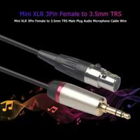 Mini XLR 3Pin Female to 3.5mm TRS Male Plug Audio Microphone Cable Wire 0.3-3m