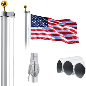 WeValor 20FT Sectional Flag Pole Kit Extra Thick Heavy Duty Aluminum Outdoor