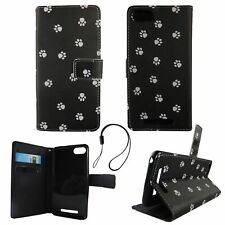 Protective Cover For Wiko Lenny 3 Dogs Paws Case Cover Wallet Book Style