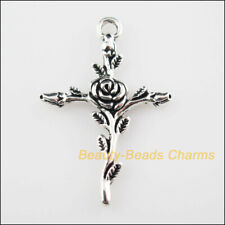 8 New Pendants Cross Rose Flower Tibetan Silver Tone Charms 23.5x34.5mm