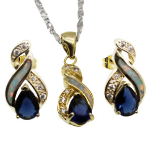 Hermosa Jewelry Sets Australian Opal Blue Sapphire Necklace Earrings JS5