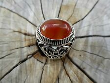Empowering Jewelry Tibetan Silver Ring Size 9 Carved Bohemian Blood Drop Indie