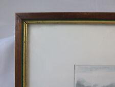 ANTICA CORNICE IN LEGNO 31x23 cm CON STAMPA CACCIA ALLA VOLPE A CAVALLO G35