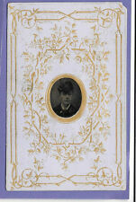 YOUNG GENT ORIGINAL VINTAGE OLD MINATURE TIN TYPE PHOTO MOUNTED ON CDV CARD  UB
