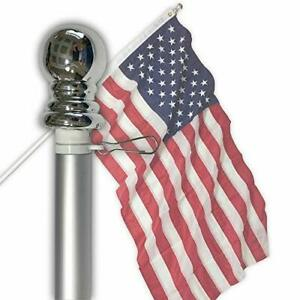 Flag Pole - 6 Foot Silver Brushed Aluminum No Tangle Spinning Flagpole with S...