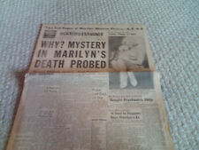 Great MARILYN MONROE Suicide Death SEX SYMBOL Hollywood Actress 1962 Newspaper