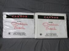 """New Vintage No-Iron """"Cotton Fresh"""" Cannon Full Flat & Fitted Sheet Set - White"""