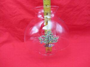 "FLARED GLASS OIL HURRICANE LAMP CHIMNEY GLOBE SHADE 6.75""X2-15/16 BASE XMAS TREE"