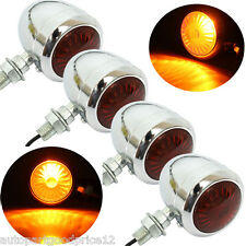 2 Pair Chrome Motorcycle Turn Signal Indicator Light Lamp For Harley Cafe Racer