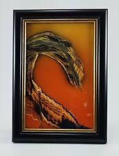 Framed Painting in Yellow Orange titled Brontosaurus Rock art by Jason Girard.