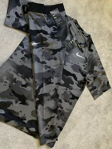 Mens Nike Pro Dri Fit Camo T-Shirt & 3/4 Leggings SET Gym Casual Ltd Ed MEDIUM M