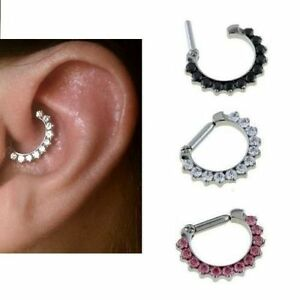 Rook Daith Tragus Ear Clicker with Jewels 14 gauge 8mm 5/16 Surgical Steel