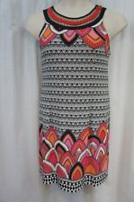 Sandra Darren Dress Sz 10 Black Coral Multi Print Jersey Casual Cocktail Shift