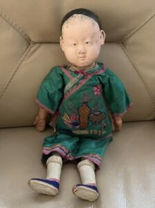 Antique Chinese Doll 1910s Bique Cloth Dressed Clothed Embroidered Silk Tunic