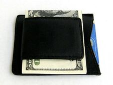 BLACK MEN'S GENUINE LEATHER MAGNETIC MONEY CLIP ID Badge Thin Wallet