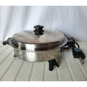 Saladmaster Oil Core Electric Skillet 7817 Fry Pan Vapo Lid VTG Tested WORKS SS