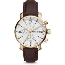 Fossil Herrenuhr Armbanduhr BQ1009 Chronograph gold weiß braun Lederarmband