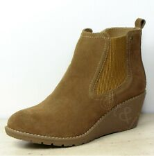 KHOMBU Real SUEDE Ladies WEDGE Sole ANKLE BOOTS ~ Various Sizes ~ CHESTNUT