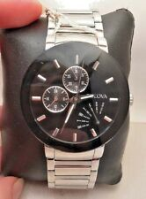 Bulova Men's 96C105 Stainless Steel Day/Date Black Dial 40mm Case Watch-H73