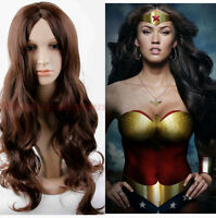 Fashion Women wig Heat Resistant Long Curly Hair Cosplay Costume Brown Full Wigs