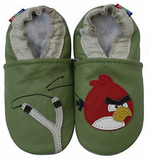 carozoo bird slingshot green 6-12m soft sole leather baby shoes