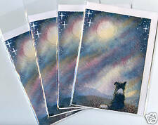 4 x Border Collie dog puppy greeting cards Susan Alison I see the moon landscape