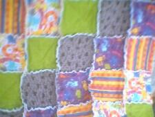 """Rag quilt crate pet mat  Cat and mouse purple gray green  30"""" x 36"""""""