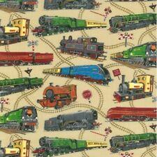 Loco Motion Locomotive Railway Train Cotton Quilting Sewing Fabric FAT QUARTER
