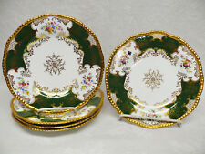 5 Pre-1920 Coalport for Tiffany Panel / Batwing GREEN Lunch Plates Z1002