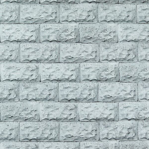 3D Grey Bricks brickwork lightly textured vinyl wallpaper 10m Roll - NEW ARRIVAL