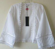 COTTONREAL WHITE TOP  Kimono Bed Jacket LACE Edwardian Steampunk Sz S 8 10 NEW