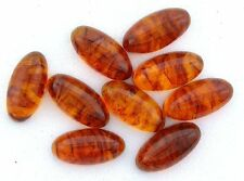 ONE 14x7 14mm x 7mm Enlongated Oval Natural Banded Baltic Amber Cab Cabochon