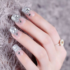 24Pcs Silver White False Nails Acrylic Uv Gel Full French Fake Art Ti Dr