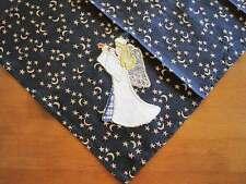 Vintage Style Angel Applique Embroidery Deep Blue Cotton Topper Napkin B