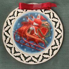 Lenox Wreath Ornament Santa's Ride Portrait 1990