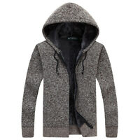 Winter Men's Fur Lining Thicken Cardigan Sweater Warm Knitted Hooded Coat