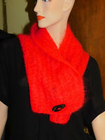 Handcrafted Bright Orange Red Mohair Knit Shawl Wrap Cape Scarf