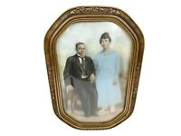 Antique Gilded Oval Wood Frame Convex Bubble Glass Couple Portrait 12x18